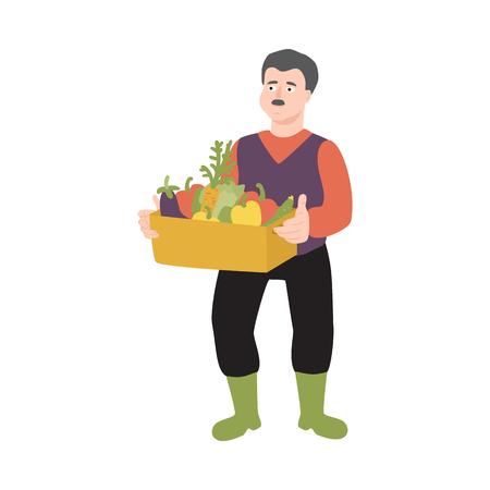 Flacher Bauernmann in Berufsuniform - Gummistiefel, Overalls, die mit Erntegemüsekasten stehen. Landwirtschaftlicher Beruf männlicher Arbeiter, ländlicher Landwirt. Vektor isolierte Zeichenillustration
