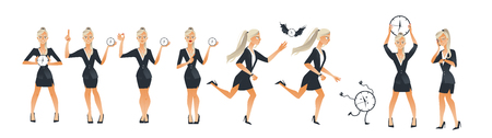 Businesswoman and time set - young female office worker in suit holding and trying to catch wall clock. Isolated cartoon vector illustration for deadline and time management concept.