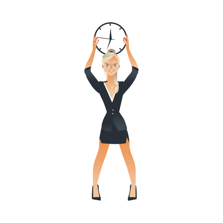 Businesswoman holding wall clock under head for time management and deadline concept isolated on white background. Cartoon female character in business suit and watch in vector illustration. 向量圖像