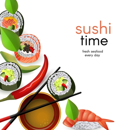 Japanese sushi banner with rolls and ebi nigiri with soy sauce and chopsticks isolated on white background. Realistic asian seafood restaurant template with copy space, vector illustration. Illustration