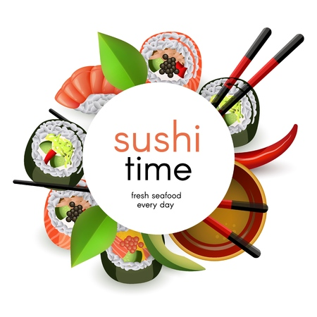 Japanese sushi banner with rolls and ebi nigiri with soy sauce and chopsticks isolated on white background - realistic asian seafood restaurant template with copy space. Vector illustration.