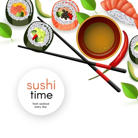 Japanese sushi banner with rolls and ebi nigiri with soy sauce and chopsticks - isolated realistic asian seafood restaurant template with copy space. Vector illustration. Illustration