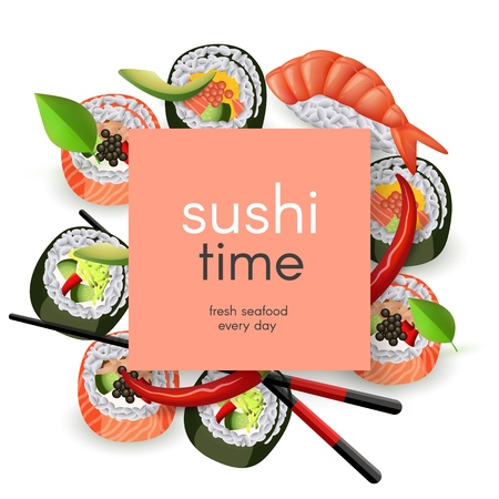 Japanese sushi restaurant template with copy space - realistic asian seafood rolls and ebi nigiri with chopsticks and spices isolated on white background. Vector illustration. Illustration
