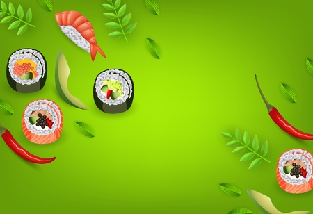 Japanese sushi banner with rolls, ebi nigiri, avocado and chili pepper isolated on gradient green background with copy space - asian traditional restaurant concept design. Vector illustration.