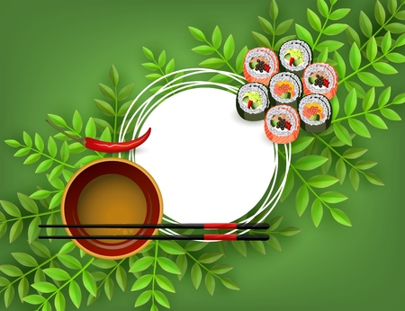 Sushi japanese seafood banner with set of fresh rolls, bowl with soy sauce, chopsticks and red chili pepper isolated on green gradient background with white round space for text. Vector illustration. Illustration