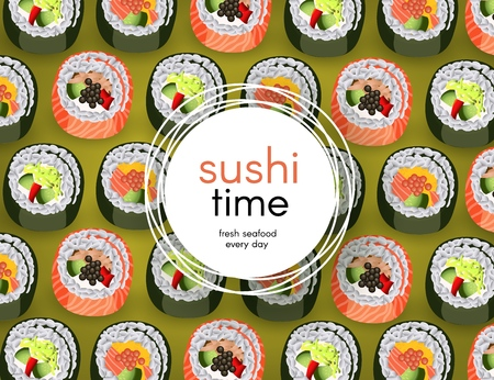 Sushi banner with fresh rolls pattern on green background and white round sticker with copy space - realistic japanese traditional seafood restaurant concept design. Vector illustration.