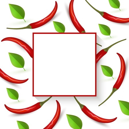 Red hot chili pepper banner with ripe vegetables and green spicy leaves on white background and square empty space for text. Realistic vector illustration of fresh herb food ingredients.