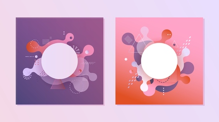 Gradient banners set - fluid color abstract geometric and bubble shapes on violet and red backgrounds with white round empty copy space, vector illustration for advertising or promotion poster.