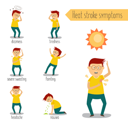 Adult man with painful face expression, heat stroke symptoms set. Nausea vomiting, tiredness, fainting dizziness, headache sweating. Flat male character worker with health problem. Vector illustration