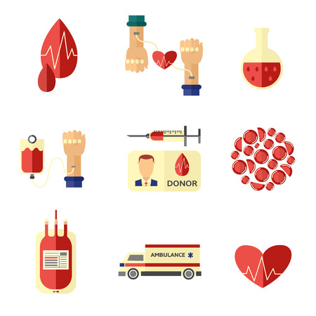 Flat blood donation concept symbols set. Blood donor day illustration. Heart with pulse syringe red cells ambulance car identification card tube transfusion bag vector illustration white background