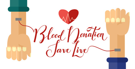 Flat 14 June world blood donor day poster template with hands connected to blood transfusion procedure icon. Volunteer donation to save life concept. Vector illustration isolated