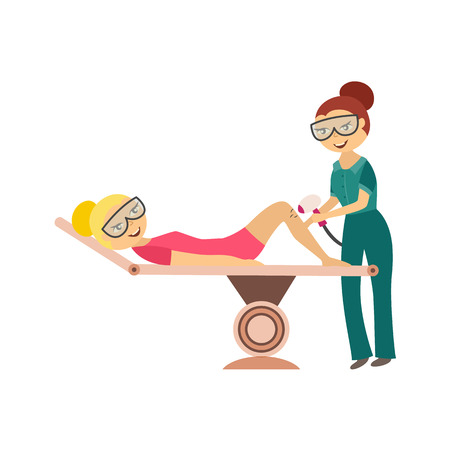 Hair removal in cosmetological salon - young woman getting laser or ipl epilation on leg isolated on white background. Flat cartoon vector illustration of cosmetic skincare procedure.
