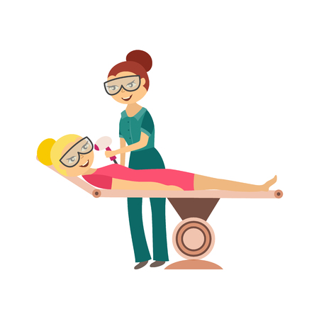 Hair removal procedure - young woman getting laser or ipl epilation on face isolated on white background. Flat cartoon vector illustration of cosmetic skincare therapy in beauty salon.