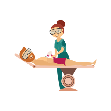 Hair removal procedure in cosmetological clinic or salon - cosmetologist doing laser or ipl epilation on chest of young man isolated on white background. Cartoon vector illustration.