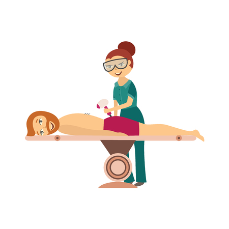Hair removal procedure in cosmetological clinic or salon - cosmetologist does laser or ipl epilation procedure on back of young man isolated on white background. Flat cartoon vector illustration. Çizim