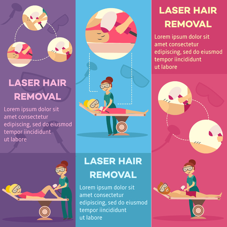 Laser hair removal in cosmetological clinic or salon vertical banners set with beautician or cosmetologist doing epilation with professional apparatus. Vector illustration template in flat style.