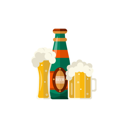 Full mug of golden lager cool beer thick white foam and water drops and glass bottle. Alcohol drink element. Vector flat isolated illustration on a white background. Ilustracja
