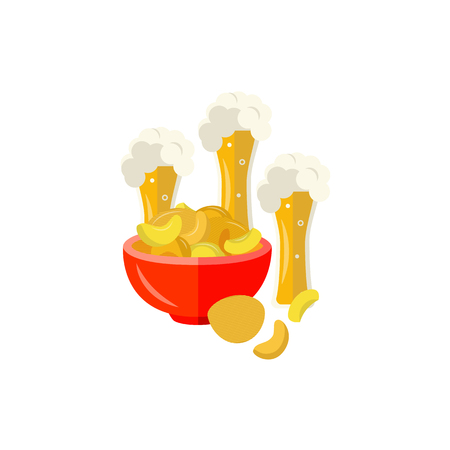 Full mugs of golden lager cool beer with thick white foam and water drops and pot with crispy chips. Alcohol drink and snacks element. Vector flat isolated illustration on a white background.
