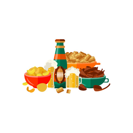 Full mug of golden lager cool beer thick white foam and water drops, glass bottle, chips, crispy rusks, grilled meat steak. Alcohol drink and snacks. Vector flat isolated illustration white background