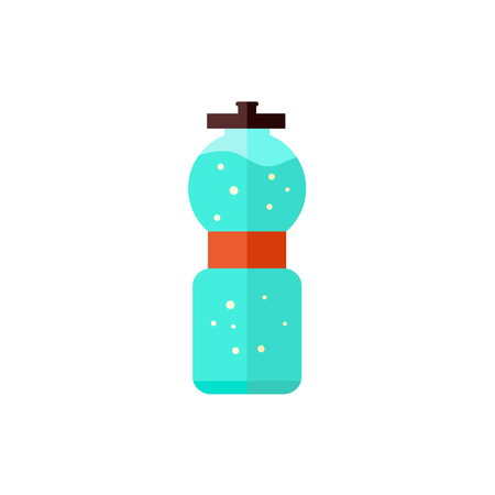 Sport bottle with water isolated on white background - plastic equipment with clean drink for sportsperson and bicyclist. Flat vector illustration for active and healthy lifestyle concept.