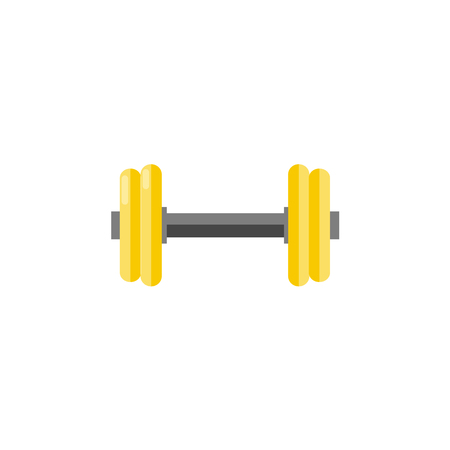 Gymnastic dumbbell for training isolated on white background - sport weight to do workout for fitness, bodybuilding and weightlifting. Flat vector illustration of sport equipment.