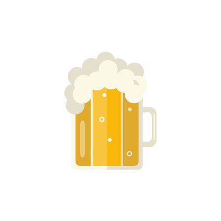 Full mug of golden lager cool beer with thick white foam and water drops. Alcohol drink element. Vector flat isolated illustration on a white background.