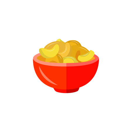 Flat potato crispy chips served in red ceramic pot. Beer snacks, unhealthy crunchy crispy fat food. Junk fried slices in plate. Vector isolated background illustration.