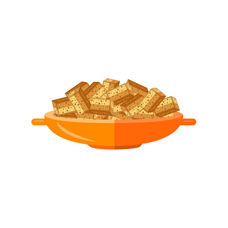 Flat bread crispy dried rusks served in orange ceramic pot. Beer snacks, unhealthy crunchy crispy fat food. Junk fried slices in plate. Vector isolated background illustration. Stock Illustratie