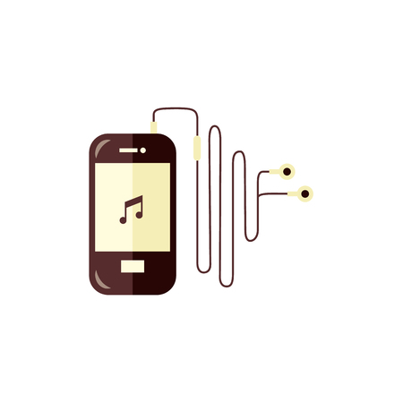 Smartphone with music player app turned on and headphones isolated on white background. Digital mobile gadget with stereo earphones - flat vector illustration of modern electronic device.