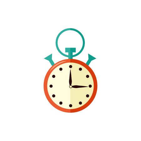 Stopwatch with arrow at fifteen seconds isolated on white background. Vector illustration of measurement symbol for time management, deadline and performance tasks on time or sport competitions. Illustration