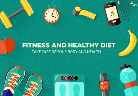 Sports and healthy lifestyle banner with top view of various sport equipment, gadgets for sportsperson and diet food for training and doing workout. Isolated flat vector illustration.