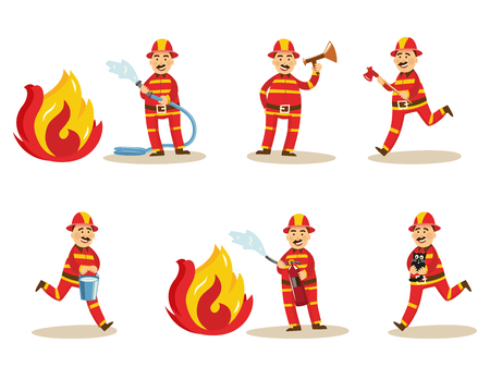 Fireman in fire protection uniform, helmet set. Male firefighter character spray water, extinguising fire holding water hose extinguisher running with bucket megaphone rescuing cat Vector illustration Vettoriali