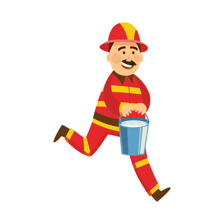 Fireman in fire protection uniform, helmet running for help holding bucket with water. Male firefighter character smiling flat icon. Emergency, rescue service worker. Vector isolated illustration.