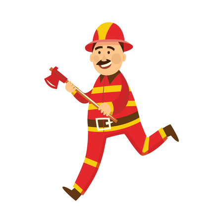 Fireman in fire protection uniform, helmet running for help holding axe. Male firefighter character smiling flat icon. Emergency, rescue service worker. Vector isolated illustration.