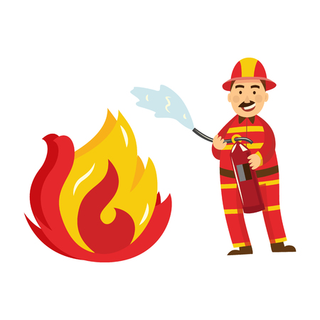 Fireman in fire protection uniform, helmet spraying fire holding fire extinguisher. Male firefighter character smiling icon. Emergency, rescue service worker. Vector isolated illustration. Illustration