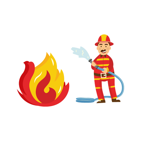 Fireman in fire protection uniform, helmet spray water, extinguising fire holding water hose. Male firefighter character smiling icon. Emergency, rescue service worker. Vector isolated illustration.