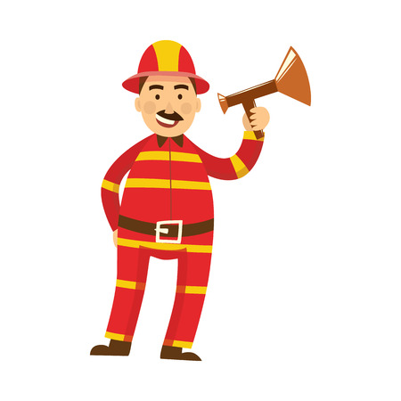 Fireman in fire protection uniform, helmet standing with megaphone loudspeaker alarming danger. Male firefighter character smiling flat icon. Emergency, rescue service worker. Vector illustration.