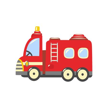 Feuerwehrauto, Notfallfahrzeugsymbol. Rotes Rettungsauto, Feuerwehrauto mit Leiter, Wasserschlauch und Feuerwehr im Inneren. Feuerwehr-Transportsymbol. Vektor isolierte Illustration Vektorgrafik