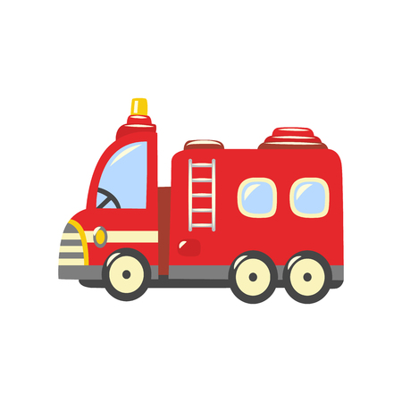 Fire truck, emergency vehicle icon. Red rescue car, fire engine with ladder, water hose and firefighters inside. Firemen transportation symbol. Vector isolated illustration Illustration