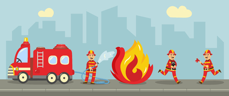 Fireman in fire protection uniform extinguishing fire concept. Male characters running with fire axe, holding water hydrant standing near emergency vehicle. Vector illustration