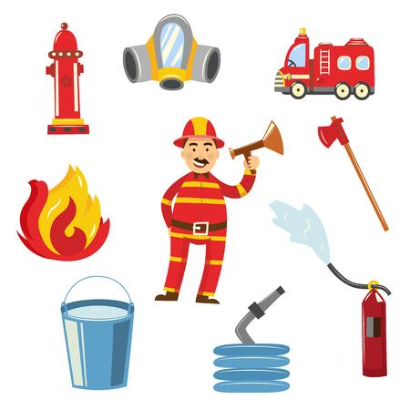 Fireman in fire protection uniform, helmet standing with megaphone loudspeaker alarming danger, firetruck, axe respirator water hydrant hose bucket fire extinguisher equipment set. Vector illustration