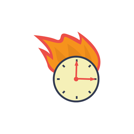 Burning wall clock icon. Watches on fire, symbol of deadline, business accuracy, time management. Hurry, leteness concept. Vector flat illustration isolated