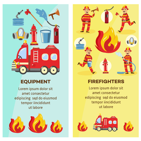 Firefighting and fequipment concept banners set. Fireman in fire protection uniform extinguishing fire, male characters running with fire axe, holding water hydrant. Vector illustration