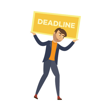 Exhausted businessman with sad emotion holding heavy burden, golden rectangle with deadline inscription. Office worker, overwork, stress and time management concept. Vector flat illustration