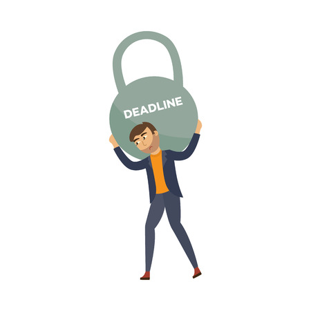 Exhausted businessman with sad emotion holding huge kettlebell weight with deadline inscription. Office worker with heavy burden. Overwork, stress and time management concept. Vector flat illustration