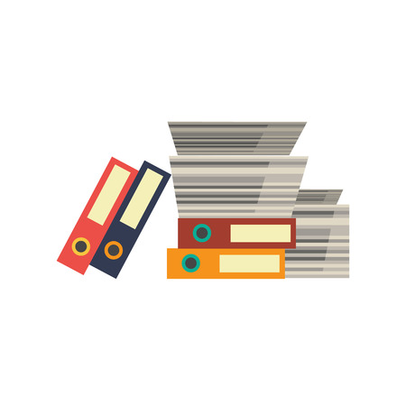 Office documents, papers and folders stacked in messy pile. Overwork, deadline and time management business concept objects. Vector flat icon illustration isolated