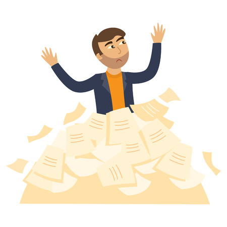 Exhausted businessman with sad emotion standing piled up with documents, papers heap raising hands. Overwork, stress and time management concept. Vector flat illustration