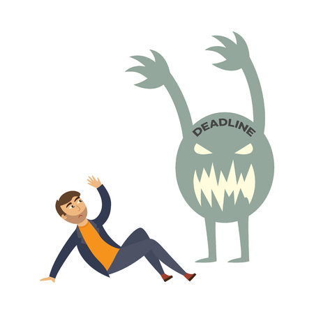 Exhausted businessman with afraid exhausted emotion lying at ground protecting from deadline monster by his hand. Overwork, stress and time management concept. Vector flat illustration Illustration