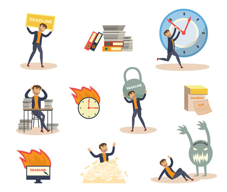 Exhausted businessman and deadline, overwork concept scenes set. Upset character holding huge kettlebell weight, stop clock hand piled up with papers, protection from monster. Vector flat illustration