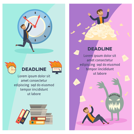 Deadline and time management banners set with overworked and littered with paper documents businessman trying to stop time and afraid of deadline. Flat cartoon vertical posters, vector illustration.